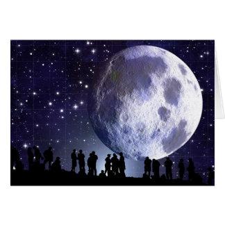 Planetarium Silhouettes Moon Stars Astronomy Card