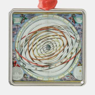 Planetary orbits Silver-Colored square decoration