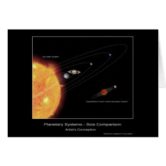 Planetary Systems – Size Comparison – Artist's con Greeting Card