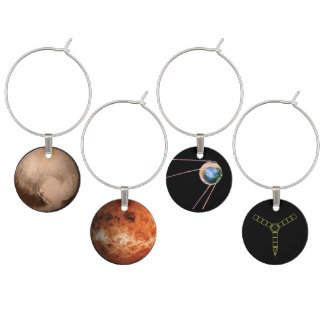 Planetary Wine Charms III-Venus,Pluto,Sputnik,Juno