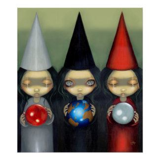 Planetary Witches ART PRINT gothic witch lowbrow