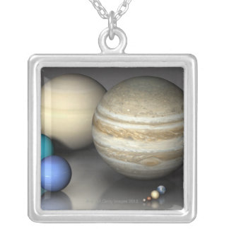 Planets 2 silver plated necklace