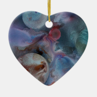 Planets amongst the  cosmos ceramic heart decoration