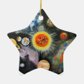 Planets and nebulae in a day ceramic star decoration