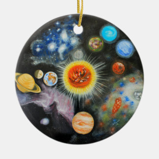 Planets and nebulae in a day round ceramic decoration