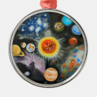 Planets and nebulae in a day Silver-Colored round decoration
