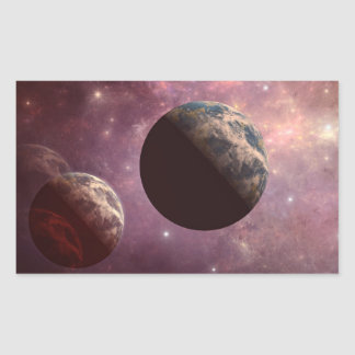 Planets in a Pink Universe Rectangle Sticker