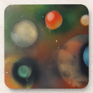 Planets in space beverage coasters