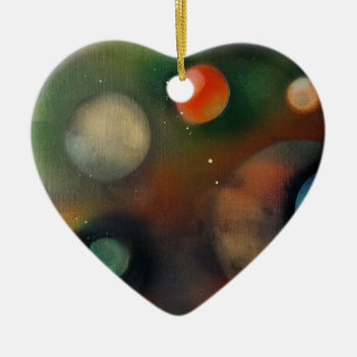 Planets in space ceramic heart decoration