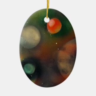 Planets in space ceramic oval decoration