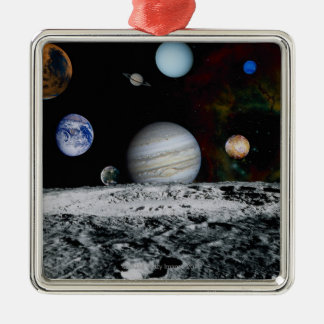 Planets of the Solar System Silver-Colored Square Decoration