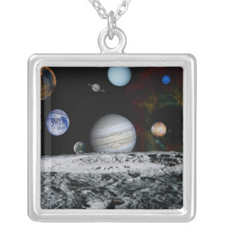 Planets of the Solar System Silver Plated Necklace
