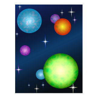 Planets Suns Stars Space Design Post Card