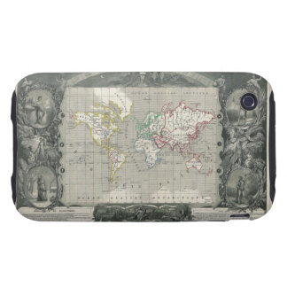 Planisphere 1847 Victor Levasseur Map of the World iPhone 3 Tough Cover