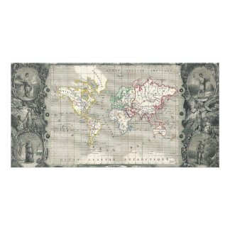 Planisphere 1847 Victor Levasseur Map of the World Customized Photo Card