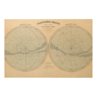 Planisphere Celeste Hemisphere Wood Wall Decor