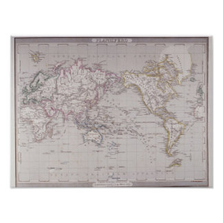 Planispheric Map of the World Poster