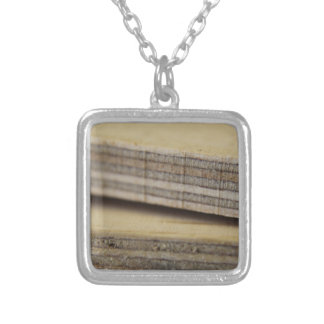 planks of wood silver plated necklace
