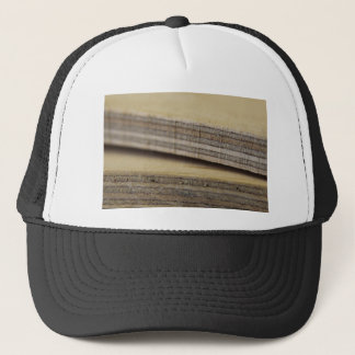 planks of wood trucker hat