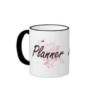 Planner Artistic Job Design with Butterflies Ringer Mug