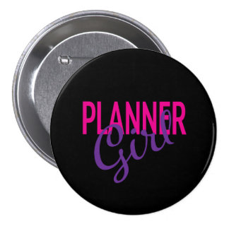 Planner Girl Black Button
