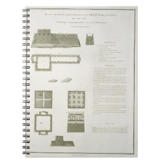 Plans, Sections and Elevations of the Great Wall o Spiral Notebook