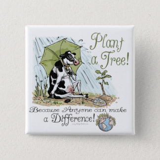 Plant a Tree Earth Day Cow Gear 15 Cm Square Badge