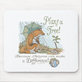 Plant a Tree Earth Day Fox Gear Mouse Mat
