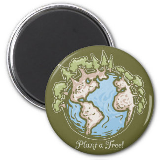 Plant a Tree Earth Day Gear 6 Cm Round Magnet