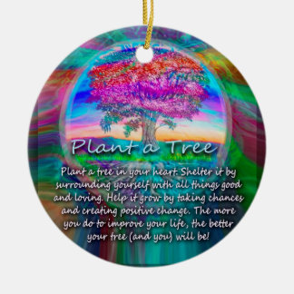 Plant a Tree of Life in Your Heart Round Ceramic Decoration