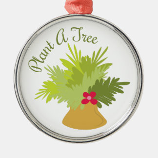 Plant A Tree Silver-Colored Round Decoration