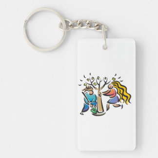 Plant A Tree Single-Sided Rectangular Acrylic Key Ring
