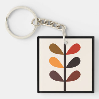 Plant Abstract Autumn Key Ring