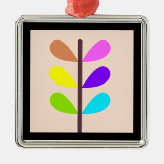 Plant Colourful Abstract Silver-Colored Square Decoration