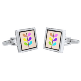 Plant Colourful Abstract Silver Finish Cufflinks