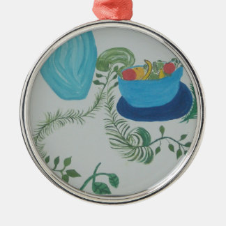 plant demention with a beautiful bowl of fruit wip Silver-Colored round decoration