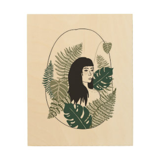 Plant Girl Wood Wall Art