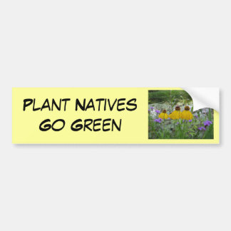Plant Natives Go Green Verbena Car Bumper Sticker