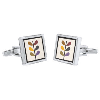 Plant Natures Art Silver Finish Cufflinks