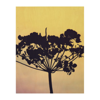 Plant silhouette wood print