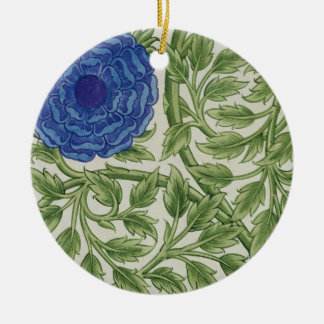 Plant with a blue flower (w/c on paper) christmas ornament