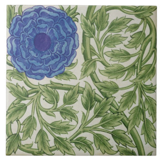 Plant with a blue flower (w/c on paper) tile