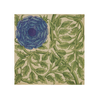 Plant with a blue flower (w/c on paper) wood wall decor