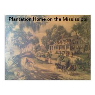 Plantation Home on the Mississippi river. Postcard