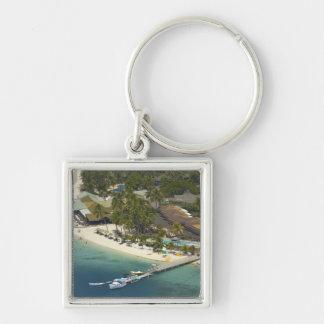 Plantation Island Resort, Malolo Lailai Island Silver-Colored Square Key Ring