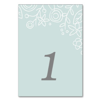 Plantation Table Number Card - Aqua Table Cards