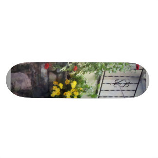 Planter With Yellow Flowering Cactus Skate Board