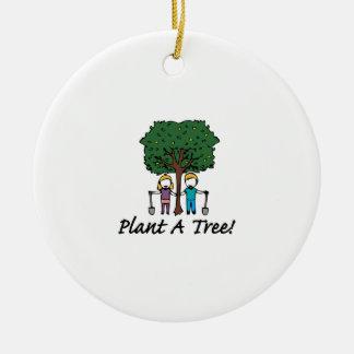 Planting a Tree Round Ceramic Decoration