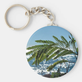 Plants and blue sea key ring