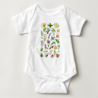 Plants and Herbs Alphabet Baby Bodysuit